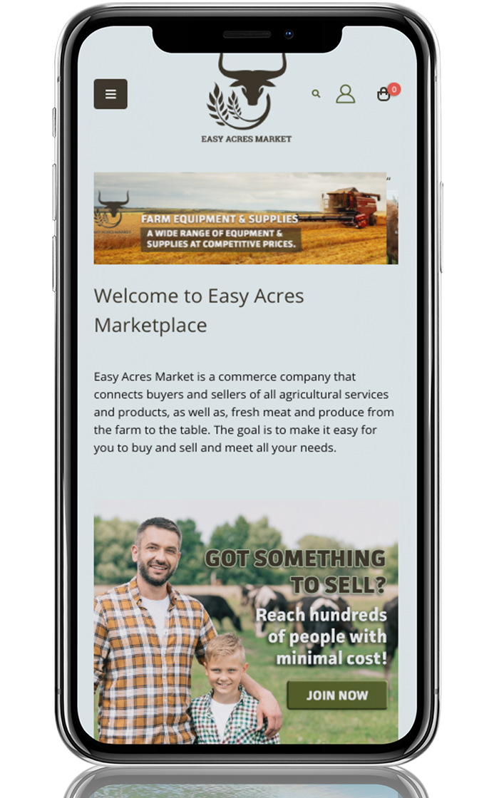 Mobile View Easy Acres Marketplace